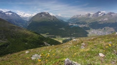 Panorama of the Upper Engadine from Muottas Muragl. - stock footage