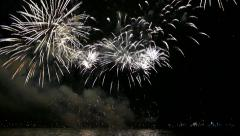 Fireworks On Water - 05 + Sound Stock Footage