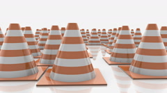 Traffic cones in rows with orange stripes Stock Footage