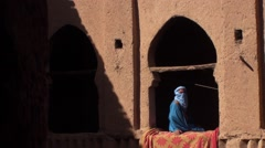 Tuareg in the  Kasbah of Nkob On the road of caravans Morocco Stock Footage