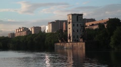 Quay. Moscow river. Summer Stock Footage