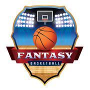 Fantasy Basketball Emblem Badge Illustration Stock Illustration