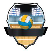 Volleyball and Court Badge Illustration - stock illustration
