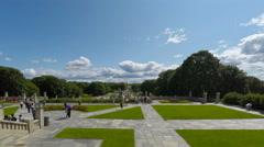 People visit  Vigeland's sculptures in public Frogner park Stock Footage