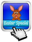Button Easter Special with easter bunny with cursor Stock Photos