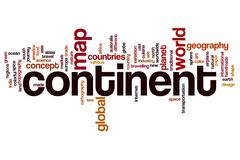 Continent word cloud concept Stock Photos