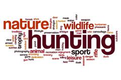 Hunting word cloud concept Stock Photos
