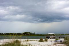 Tybee island beach scenes during rain and thunder storm Stock Photos