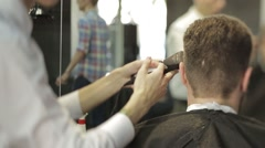 Men's haircut set  Perfectly styled beard Stock Footage