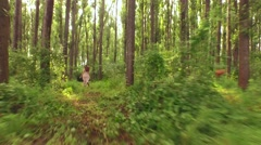 Young Woman Running In Forest Freedom Carelessness Nature Beauty Hippy Dress Stock Footage