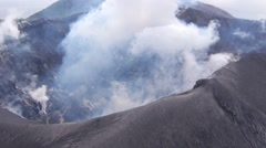 Aerial view of active volcano Tavurvur Stock Footage