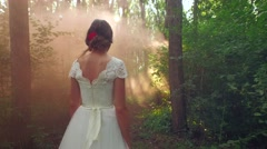 Mysterious Beautiful Young Female Woman Princess Walking Through Magical Forest Stock Footage