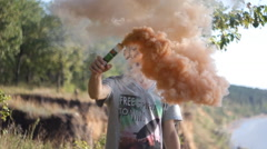 slow motion: smoke bomb - stock footage