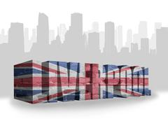 text Liverpool with national flag of great britain - stock illustration