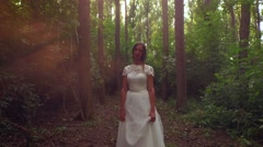 Beautiful Young Woman Bride Walking In Forest Mist Early Morning Sunrise Love Stock Footage