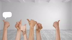 Speech bubbles appearing with many thumbs up - stock footage