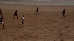Soccer on Moroccan Beach Stock Footage