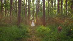 Retro Love Vintage Dress Bride Woman Walking Through Enchanted Forest Mystery Stock Footage