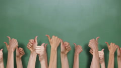 Back to school with many thumbs up - stock footage