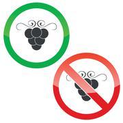 Grape permission signs set - stock illustration
