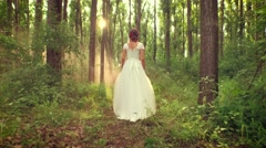 Gorgeous Young Woman Vintage Dress Bride Marriage Romance Beauty Walking Through Stock Footage