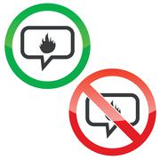 Fire message permission signs Stock Illustration