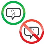Tooth message permission signs Stock Illustration
