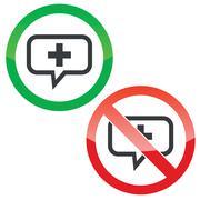 Plus message permission signs - stock illustration