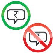 Rupee message permission signs - stock illustration