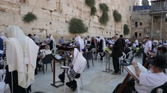 Side View of Men at Pray and Study at Western Wall in 4k Stock Footage