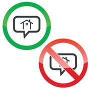Cottage message permission signs - stock illustration