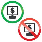 Stock Illustration of Dollar monitor permission signs