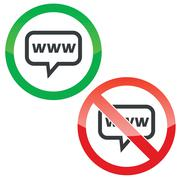 WWW message permission signs Stock Illustration