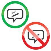 Smoking message permission signs - stock illustration