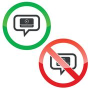 Mediaplayer message permission signs - stock illustration