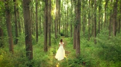 Beautiful Young Woman Waking Toward Sunset In Forest Bride Vintage Afterlife Stock Footage