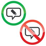 Stock Illustration of USB stick message permission signs