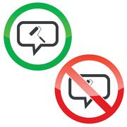 Paint roller message permission signs Stock Illustration