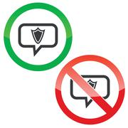 Shield message permission signs Stock Illustration