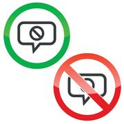 NO message permission signs Stock Illustration