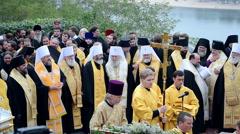 Vladimir 1000th celebration anniversary of the repose in Kiev, Ukraine. Stock Footage