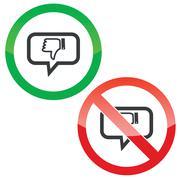 Dislike message permission signs - stock illustration