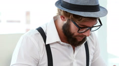 Hipster businessman using typewriter - stock footage