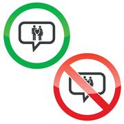 Stock Illustration of Love couple message permission signs
