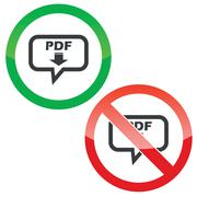 PDF download message permission signs - stock illustration