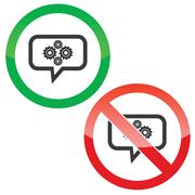 Cogs message permission signs Stock Illustration