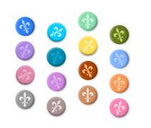 Fleur de lis coloured buttons Stock Illustration