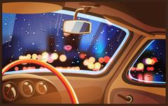 Night rainy city - stock illustration