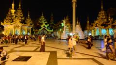 Time Lapse of Shwedagon Pagoda at Night Myanmar Stock Footage