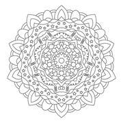 Circular symmetric ethnic patternisolated on white background. Stock Illustration